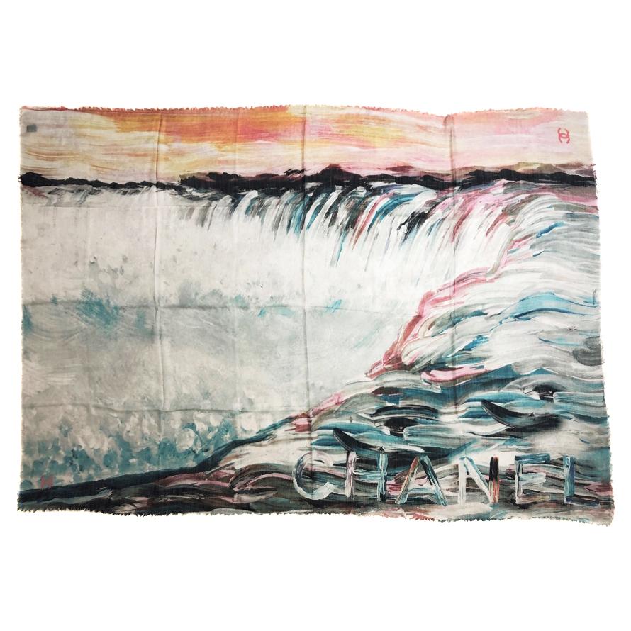 Chanel Cashmere & Silk Pastel Watercolour Print Scarf