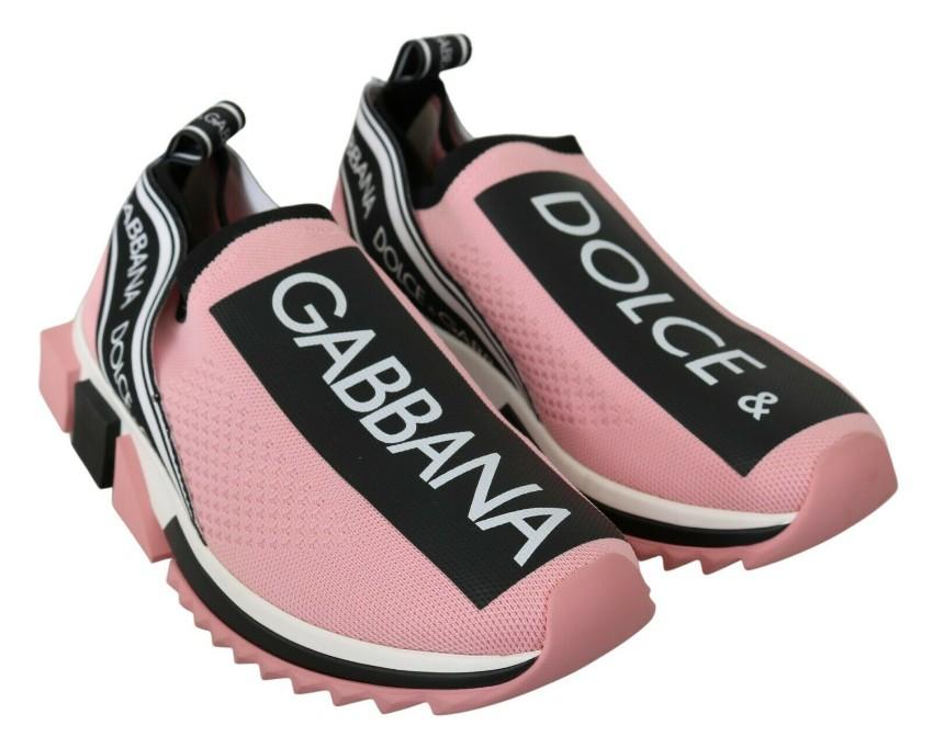 Dolce & Gabbana Pink & Black Logo Sneakers