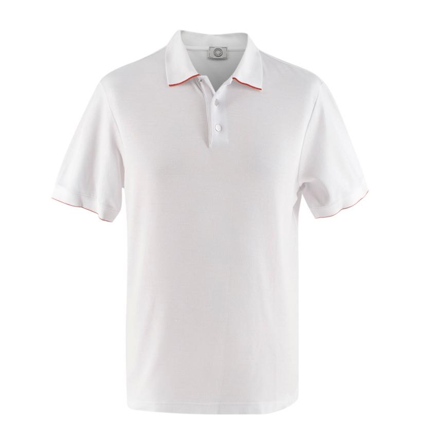 Hermes Sellier White Cotton Blend Double Jeu Polo Shirt
