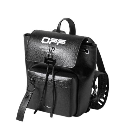 Off White Black Leather Binder Backpack