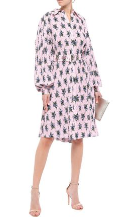Emilia Wickstead Clarisse Belted Floral Crepe Dress