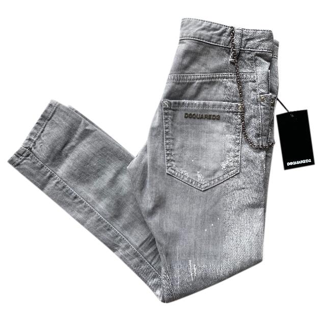 DSquared2 Grey Denim Twist Jeans with Chain