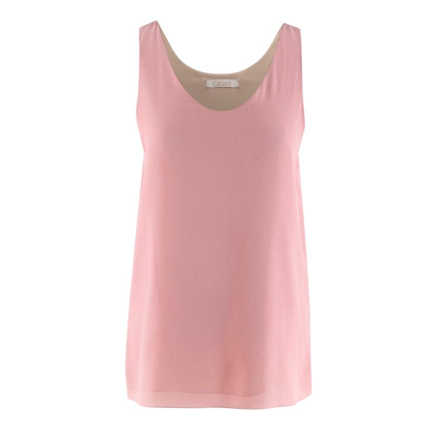 Chloe Pink Silk Tank Top