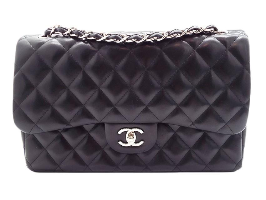 Chanel Black Lambskin Jumbo Double Flap Bag