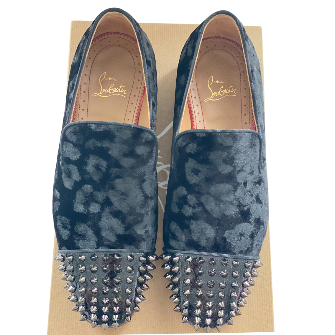 Christian Louboutin Leopard Jacquard Spiked Loafers
