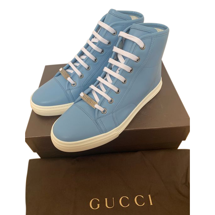 Gucci Sky Blue Leather High Top Sneakers