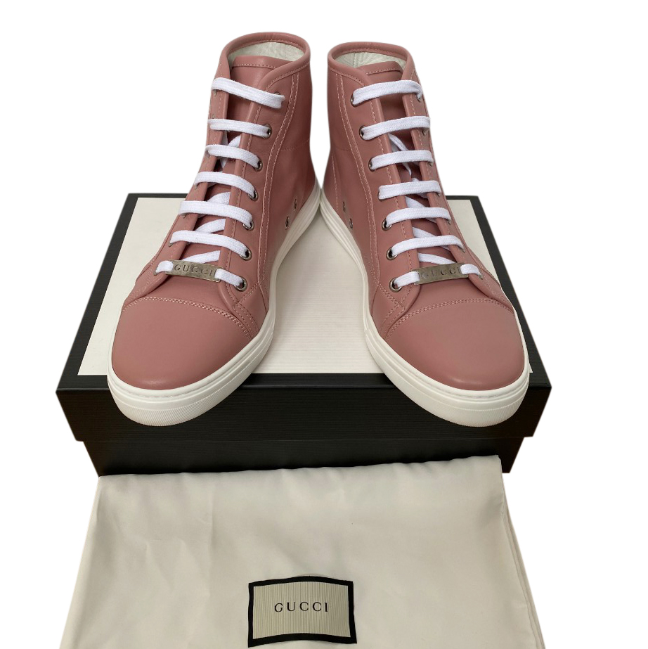 Gucci dusky pink leather high top trainers