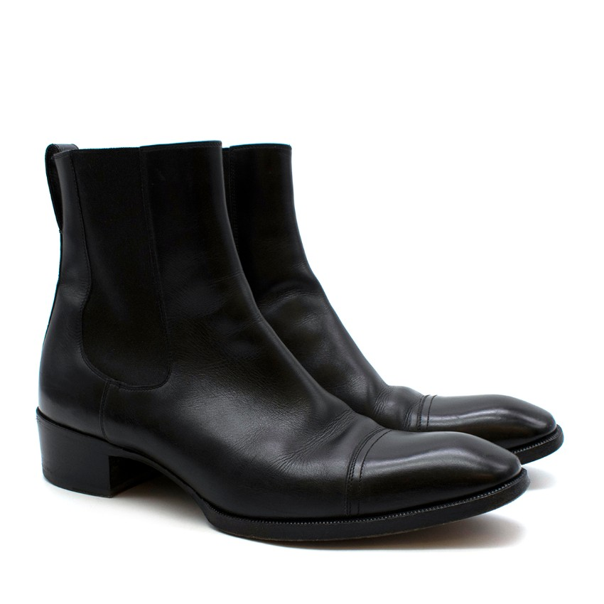 Tom Ford Black Gianni Leather Cap Toe Chelsea Boot