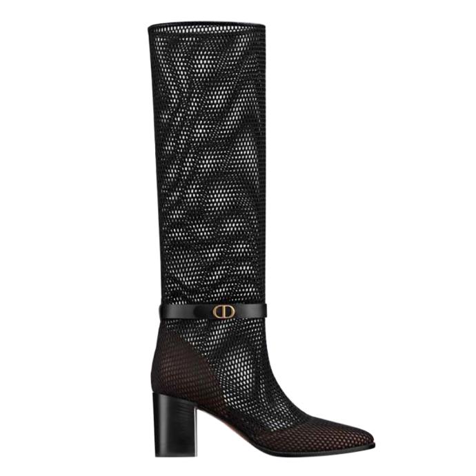 Dior Empreinte Mesh & Calfskin Heeled Boots