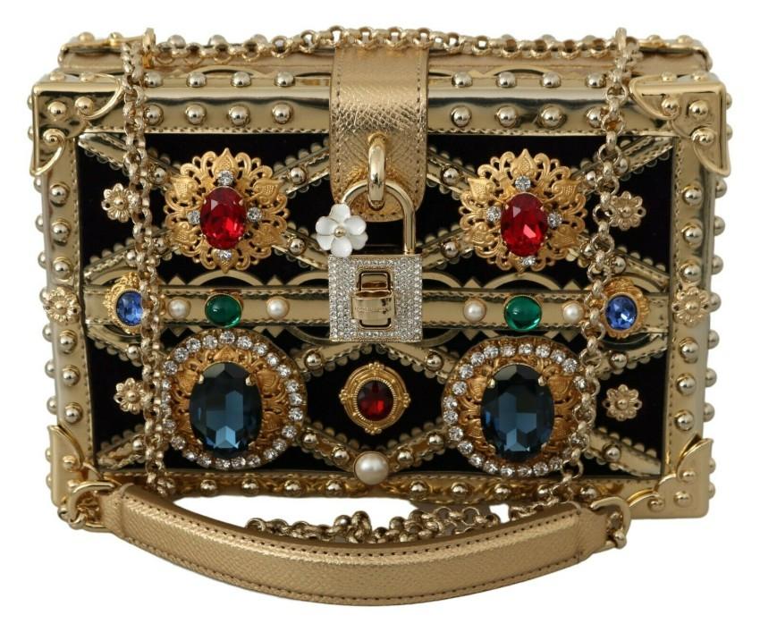 Dolce & Gabbana Gold Crystal Embellished Box Bag