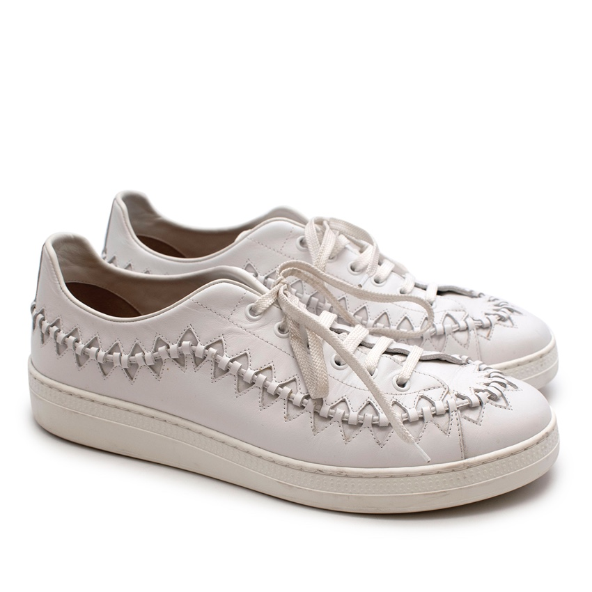 Alaia White Leather Men's Cut Out Trainers