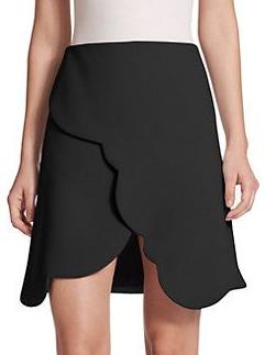 Carven Black Scalloped Wrap Skirt