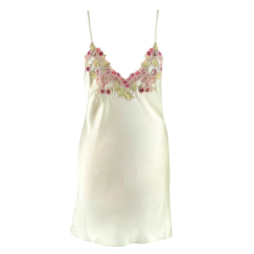 La Perla Green Silk Slip Dress w/ Embroidered Tulle