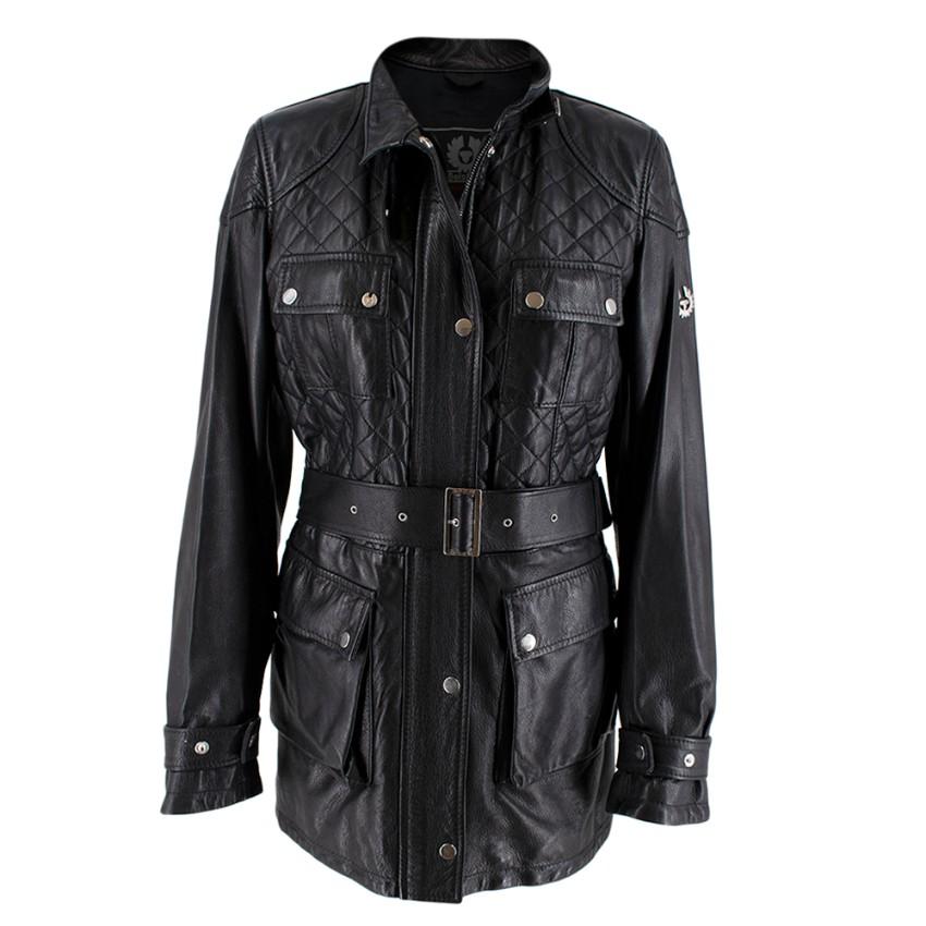 Belstaff Black Leather Quilted Belted Jacket