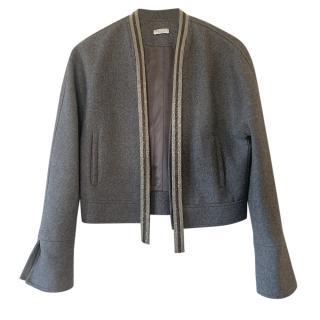 Brunello Cucinelli Grey Wool Jacket with Monili Bead Trim