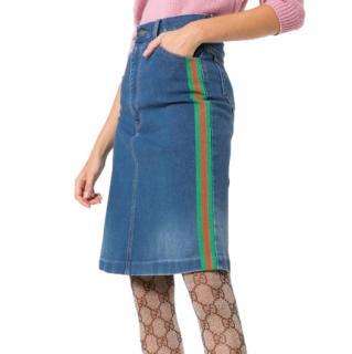Gucci Web Trim A-Line Denim Skirt