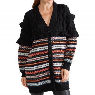 Philosophy di Lorenza Serafini Fairisle Cable Knit Frilled Cardigan