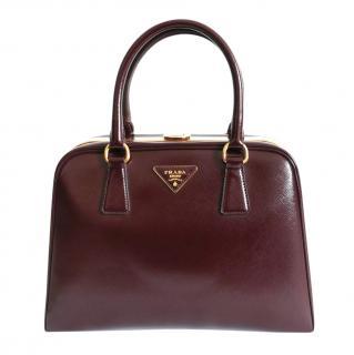 Prada Glossy Burgundy Saffiano Leather Pyramid Frame Bag