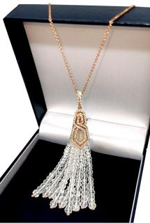 William & Son 18ct Rose Gold Diamond Rock Crystal Tassel Pendant