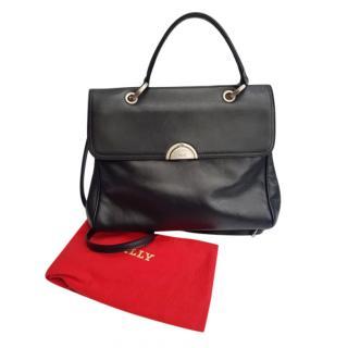 Bally Vintage Black Leather Tote Bag