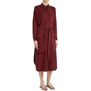 Albus Lumen Burgundy Sabrina Waist-tie Twill Shirtdress