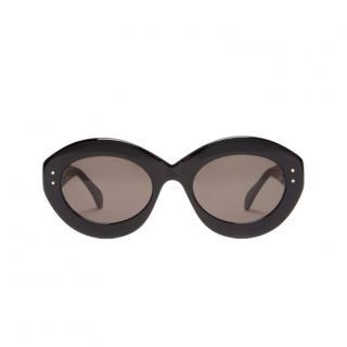 Alaia Black Oval Oversize Sunglasses