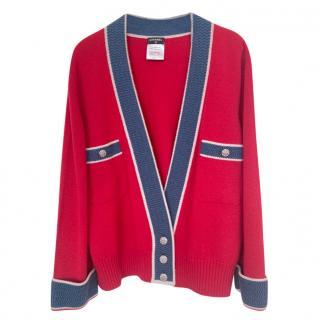 Chanel Paris/Versailles Red & Blue Cashmere Knit Cardigan