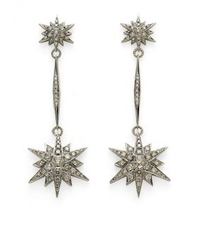 H Stern Noble Gold & Diamond Stars Drop Earrings