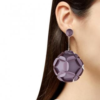 Prada Purple Embellished Earrings