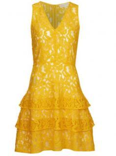 Michael Michael Kors Yellow Lace Tiered Dress