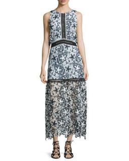 Self-Portrait Sleeveless Floral Lace Popover Maxi Dress