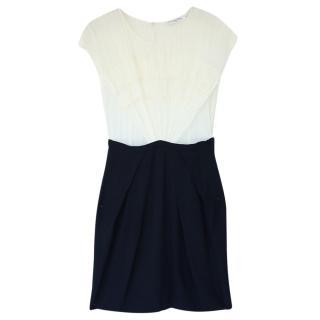 Christian Dior Black & Cream Silk Chiffon Dress