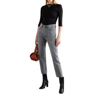 Goldsign Grey Cotton Denim Relaxed Straight Mid-rise Jeans