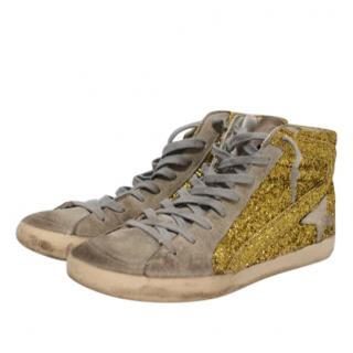 Golden Goose Gold Glitter Distressed High Top Sneakers