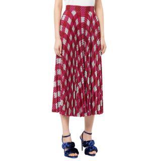 Mary Katrantzou Pink Geometric Print Pleated Midi Skirt