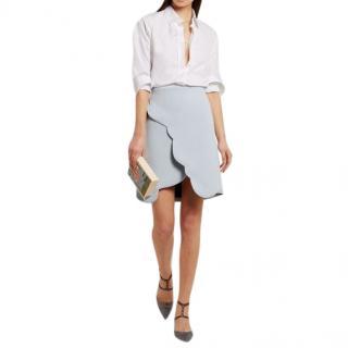 Carven Light blue Scalloped wrap-effect crepe Mini Skirt