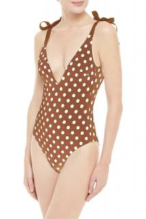 Zimmermann Brown Grosgrain-Trimmed Polka Dot Swimsuit