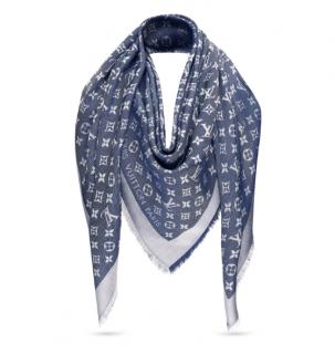 Louis Vuitton Blue Denim Monogram Scarf