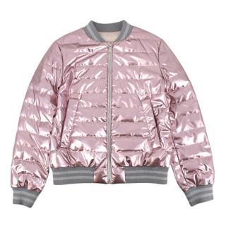 Moncler Kid's 14Y Pink Metallic Down Jacket