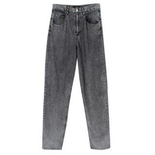 Isabel Marant Grey Cotton Denim Acid Wash Jeans