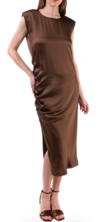 Brunello Cucinelli Brown Monili Bead Trim Ruched Dress