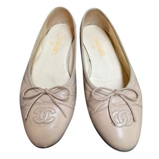 Chanel Nude Quilted Ballerina Flats