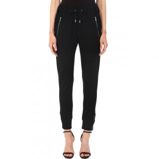 The Kooples Leather Trimmed Black Joggers