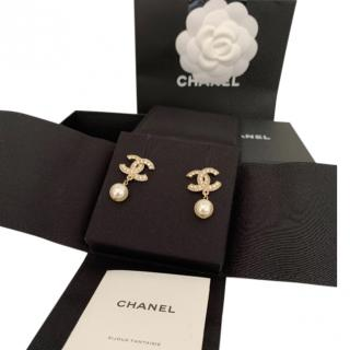 Chanel Crystal Embellished Faux Pearl Drop CC Earrings