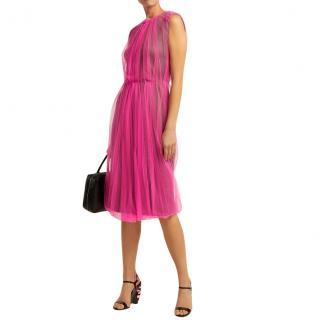 Prada Pink Neoprene Tulle Overlay Runway Dress