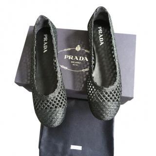 Prada Black Woven Raffia Ballerina Flats