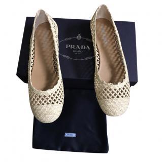Prada Natural Woven Raffia Ballerina Flats