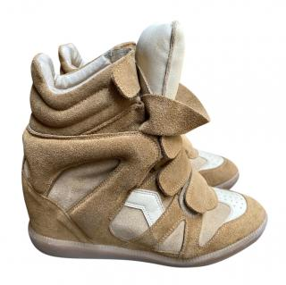 Isabel Marant Beige Suede Wedge High Top Sneakers