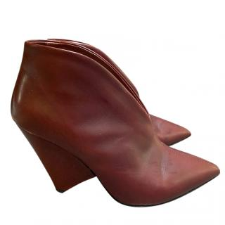 Isabel Marant Burgundy Leather Cone Wedge Booties