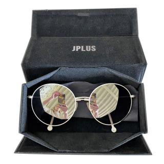 J Plus White Round Mirrored Sunglasses